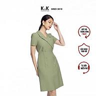 Đầm Chữ A Cổ Đan Tông K&K Fashion KK106-08 Màu Xanh Đính Nút Vải Đũi thumbnail
