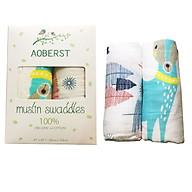 Hộp 2 khăn cuốn muslin swaddles thương hiệu AOBERST thumbnail