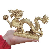 Tượng rồng đồng phong thuỷ vật phẩm dài 21cm thumbnail
