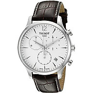 Tissot T0636171603700 Tradition Men s Chrono Quartz Silver Dial Watch with Brown Leather Strap thumbnail