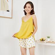 FEMEI - Bộ mặc nhà áo 2 dây quần ngắn lụa Hàn DNP001 thumbnail