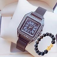 Đồng hồ nữ dây kim loại nam châm mặt vuông đính đá sang trọng(Màu Đen) + tặng kèm vòng tay tỳ hưu thời trang may mắn thumbnail