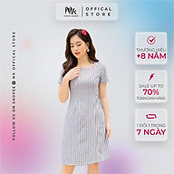 Váy Thiết Kế Công Sở NK FASHION Dáng Chữ A Cổ Vuông Kèm Đai Eo, Hoạ Tiết Caro, Chất Liệu Nhập Hàn Cao Cấp NKDV2103008 thumbnail