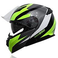 Mũ bảo hiểm Yohe 950 lật hàm 2 kính chính hãng tem Xanh - Đen thumbnail