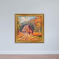 Tranh sơn dầu Nhà Gỗ Tranh treo tường phòng khách in canvas W1906 thumbnail