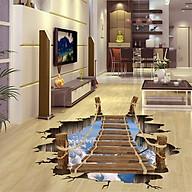 Tranh decal dán tường 3D, giấy dán tường 3D trang trí phòng khách Cầu gỗ lên trời thumbnail