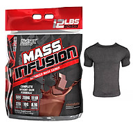 Combo Sữa tăng cân tăng cơ Mass Infusion của Nutrex hương Chocolate bịch lớn 5.45 kg hỗ trợ tăng cân, tăng cơ cho người gầy kén ăn, khó hấp thụ thức ăn tự nhiên & Áo Gym Đen size S (47kg-57kg) thumbnail