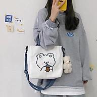 Túi vải Canvas đeo chéo đeo vai hình cún yêu thumbnail