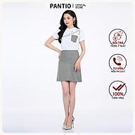 Chân váy nữ ngắn chất liệu thô kẻ dáng chữ A đính cúc FJN5595 - PANTIO thumbnail