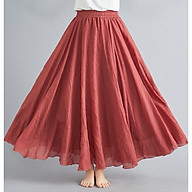 Loose plus size elastic waist pleated cotton and linen skirt thumbnail
