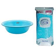 Combo chậu rửa mặt 4,5L màu xanh + khăn tắm cao cấp màu xanh nội địa Nhật Bản thumbnail