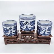Bát nhang thờ ( gốm sứ bát tràng cao cấp) comboo bộ 3 bát nhang + tam cấp gỗ ( tương xứng bát nhang) thumbnail