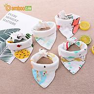Set 5 Khăn yếm tam giác cho bé Bamboo Life hàng chính hãng từ sợi tre 4 lớp Khăn yếm quàng cổ giữ ấm cho bé sơ sinh thumbnail