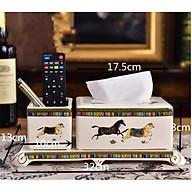 Hộp đựng giấy ăn 2 ngăn họa tiết Ngựa Hơ Mẹt lạ mắt tinh tế mang phong cách tân cổ điển sang trọng CB05-HG - Chất liệu sứ thumbnail