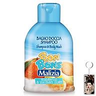 Sữa tắm gội trẻ em Malizia Bon Bons hương quýt và kẹo bông 500ml tặng kèm móc khóa thumbnail