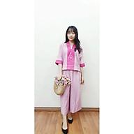 Quần Áo Lam Phật Tử cao cấp màu hồng dành cho nữ hà nội hcm An252 vải đũi phối tơ tằm hàng thiết kế thumbnail