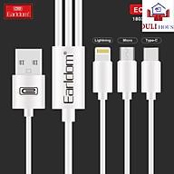 Dây sạc 3 đầu 3 in 1 siêu bền, 3 cổng sạc USB micro, type C, lightning, sạc nhanh, nhựa dẻo, mềm mại, hàng chính hãng thumbnail