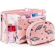 Set 3 túi đựng mỹ phẩm đa năng hồng hạc - Giao màu ngẫu nhiên thumbnail