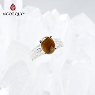 Nhẫn bạc nữ đá mắt hổ vàng nâu mệnh thổ, kim - Ngọc Quý Gemstones thumbnail