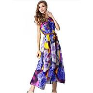 Đầm maxi đẹp kiểu đầm xòe in hoa trẻ trung SANGCHANH1561 thumbnail