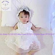 Váy ren nơ eo cộc tay cho bé kèm mũ bèo tiểu thư - Đầm công chúa cho bé sơ sinh đầy tháng thôi nôi thumbnail