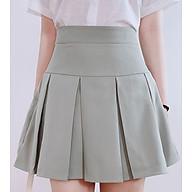 Chân váy nữ dáng A cơ bản 4YOUNG chân váy trơn màu Xanh V127 thumbnail