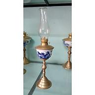 Đèn dầu thờ chân đồng men lam gốm sứ Bát Tràng thumbnail