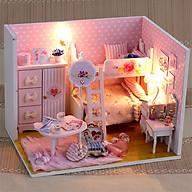 Nhà búp bê bằng gỗ lắp ghép Căn nhà màu hồng có kèm keo dán,dụng cụ lắp ghép, mica thumbnail