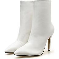 Giày boot nữ cổ lửng gót nhọn trắng sành điệu GBN1102 thumbnail