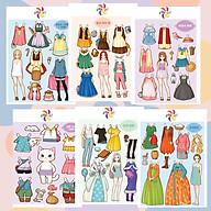 Combo 6 búp bê giấy thay đồ thời trang đồ chơi cắt thủ công cho bé 6 hình siêu đáng yêu 004 thumbnail