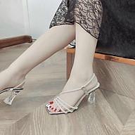 Giày Sandal Dây Đan Quai Ngọc Gót Pha Lê Siêu Xinh Kèm Túi Thơm Để Tủ thumbnail