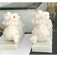 Cặp tỳ hưu đá trắng non nước 20 cm tặng kèm đế thumbnail