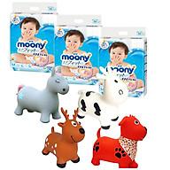 Combo 3 gói tã dán Moony cao cấp size NB90 S84 M64 L54 XL44 tặng thú nhún Toys House thumbnail