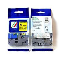 Nhãn in siêu dẻo TZ2-FX621, khổ 9mm x 8m, chữ đen nền vàng, dùng cho máy in nhãn Brother thumbnail