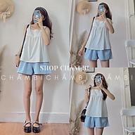 Set bộ Hàn Quốc S.055, Set áo hai dây babydoll ren ngực và quần short xanh hot trend thumbnail