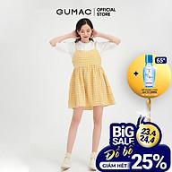 Đầm nữ hai dây babydoll dễ thương màu caro vàng GUMAC DB470 thumbnail
