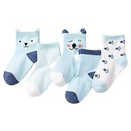Combo 5 đôi Tất vớ cho bé sơ sinh từ 0-2 tuổi hình gấu xinh xắn (bé trai, bé gái, chất thoáng mát) thumbnail
