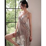 Váy ngủ hai dây hoa ren xẻ vạt gợi cảm quần lót chữ T gợi cảm dành cho bạn gái thumbnail