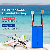 11.1V 1100mAh 20C Lithium Battery for Wltoys XK X450 RC Airplane Fixed Wing thumbnail