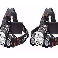 Bộ 2 chiếc đèn pin T6 đội đầu có 3 bóng dùng pin sạc thumbnail