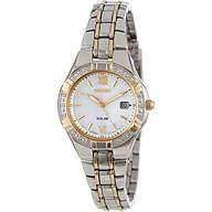Seiko Women s SUT068 Dress Solar Classic Diamond-Accented Two-Tone Stainless Steel Watch thumbnail