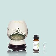 Đèn xông MD024 Kepha + Thêm 1 lọ tinh dầu Bạc Hà nguyên chất 10ml + Tặng 1 bóng đèn Đèn xông tinh dầu gốm sứ cao cấp. Hoạ tiết hoa sen màu xanh. Đế gỗ chắc chắn, an toàn thumbnail