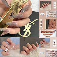 Set 24 móng tay giả , nail giả khuôn dài màu trong đính đá charm cực kỳ sang chảnh thumbnail