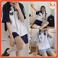 Bộ thể thao polo gấu KA Closet hình thêu chạy sọc rót, chất cotton dầy mịn, cổ mếch, tay raplang thumbnail
