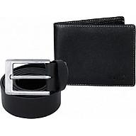 Bộ ví và thắt lưng nam da bò đầu kim cao cấp thumbnail