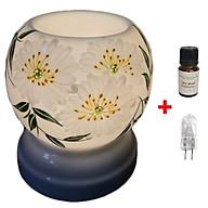 Đèn xông tinh dầu Cúc trắng MNB48 Song An tặng 1 chai tinh dầu sả chanh Viện nông nghiệp và 1 bóng đèn thumbnail