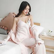 Set bộ đồ ngủ lụa cao cấp gồm áo ngủ hai dây có mút ngực quần ngủ ngắn và quần ngủ dài thumbnail