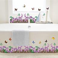 Decal trang trí dán chân tường hàng rào hoa đầy màu sắc cho bé AY756 thumbnail