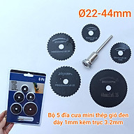 Bộ 5 đĩa cưa mini thép gió đen dày 1mm kèm trục 3.2mm đường kính 22, 25, 32, 35, 44mm thumbnail
