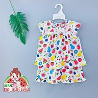 Bộ mặc nhà - Đồ bộ bé gái tôn lanh siêu xinh mặc hè cho bé size 8-32kg shop mẹ dưa hấu thumbnail